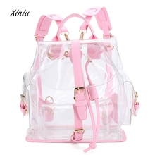 Women's Backpack Clear Plastic See Through Security Transparent Backpack Bag Ladies Travel Bag Ladies Bag mochila feminina(China)