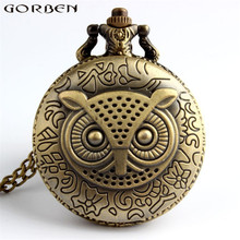 Bronze Classic Owl Pocket Watch Brass Men Watches Antique Style With Good Quality New Unique Pendant For Men Or Women Watches(China)