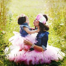 Mother Daughter Princess Mesh Tutu Skirt Family Matching look Clothes Baby Girls Kid Tulle Bubble Skirts Pettiskirts Outfits