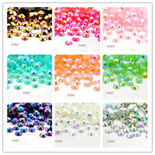 Lucia crafts 500pcs 5MM Multicolor AB Flatback Resin Rhinestones DIY Mobile Phone Nail Art Craft 120405231(AB500)(China)