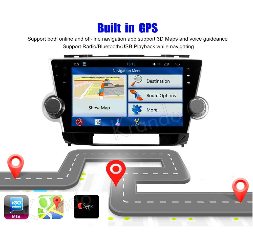 Krando Android car radio gps navigation multimedia system for toyota highlander 2008 2009 2010 2011 2012 2013 2014