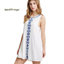 Summer Dress 2017 Fashion Waistcoat Sleeveless Strapless Embroidered Linen Beach Dress Ukraine Vestidos Dress Female Mimi dress(China)
