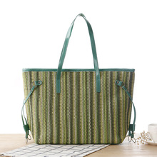 2017 Summer Women Fashion Hand Straw Handbag PP Grass Woven Tote Handbag Cute Striped Beach Shoulder Bag.With Large Capacity