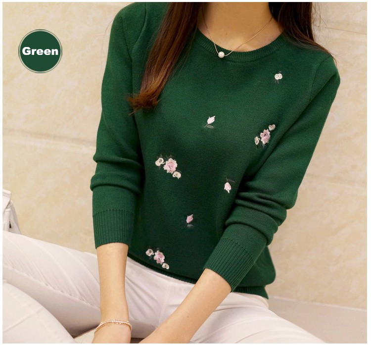 S-3XL New Youth Women's Sweater Autumn Winter 17 Fashion Elegant Peach Embroidery Slim Girl's Knitted Pullover Tops Female 22