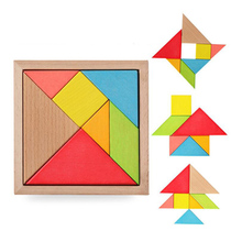 Treeby Wood DIY Jigsaw Puzzle Educational Wooden Toys  Developmental Toy Large Wooden Tangram Brain Teaser Puzzles For Children