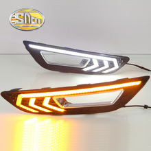 For Ford Focus 2015 2016,With Yellow Signal Function Waterproof ABS Cover Car DRL 12V LED Daytime Running Light Daylight SNCN