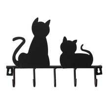 Fashion Black cat design Metal Iron Wall Door Mounted Rustic Clothes Coat hat key hanging Decorative Wall Hooks Robe Han(China)