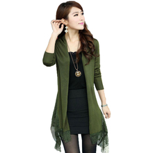 S-3XL freeshipping Spring&fallnew Women Korean lace plus size sweater long shawl knitted cardigan jacket army green black coffee(China)