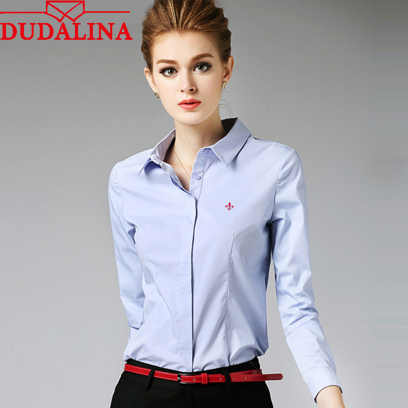 Dudalina Embroidery Female Shirts Lady 2018 Body Blusas Femininas Shirts Women Long Sleeve Tops Roupas Camisas Plus Size(China)