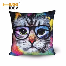 HUGSIDEA Cute 50X50 Cushion Cover Pillow Case for Office Chair Back Personalized Home Cat Cushion Cover Sofa Throw Pillow Cover(China)