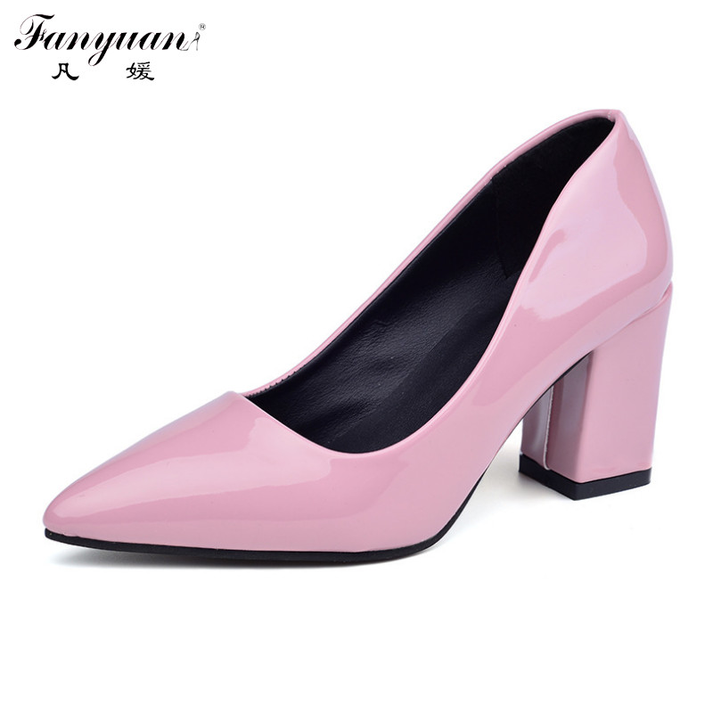 Fanyuan Elegant Green Pumps Women Party Shoes Patent Leather Thick High Heels Pointed Toe Nude Shoes 2017 Office Lady Dress Shoe<br><br>Aliexpress
