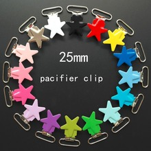 Wholesale 10 Pcs Enamel Star Shape Metal Baby Pacifier Clips Holders / Suspender Clips Dummy Clip Holder Chain Plastic insert(China)