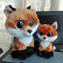 TY BEANIE BOOS 2PC 6 '15CM  10' 25CM BIG EYE Slick Fox brown fox Plush Toys Stuffed animals KIDS TOYS VALENTINE GIFT