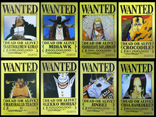 Wholesale 8(pcs) x New Anime ONE PIECE Wanted Poster Great Toy Gift for Kids FREE SHIPPING to WORLDWIDE