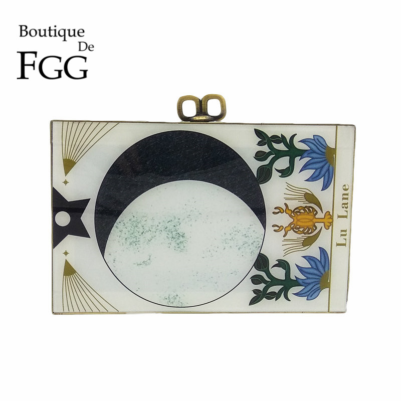 Boutique De FGG Vintage Zodiac\Sign Women Fashion Day Clutches Handbag Evening Acrylic Box Clutch Purse Shoulder Crossbody Bag<br>