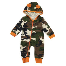 Baby Rompers Newborn Boy Girl Camouflage Hooded Romper Jumpsuit Clothes Infant Outfits baby clothing drop ship(China)
