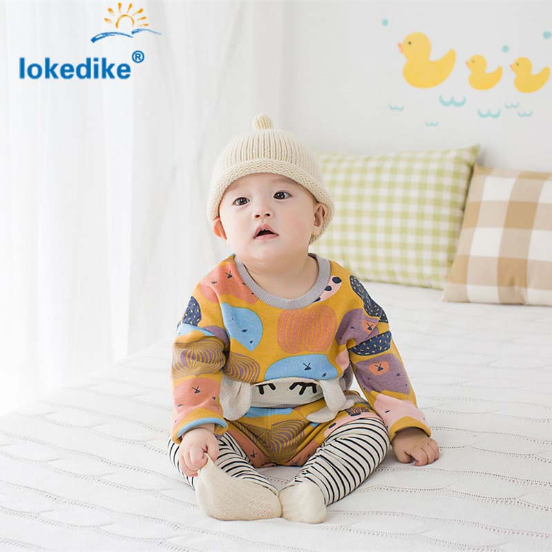 Printing Style Baby Boys Girls Clothes 2017 Spring Autumn  Hot Style Cotton Casual  Childrens Clothing  Set 2pcs T2607<br><br>Aliexpress