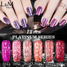 12 Pieces Package Soak Off UV/LED Gel Nail Platinum Bling Series Cheap Polish For Nails Wholesale China Factory(China)