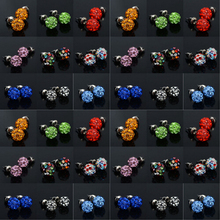 Hot Selling Stud Earrings Clay Disco Balls Crystal 8mm Shamballa Earrings 20pcs/lot Wholesale Earrings For Women