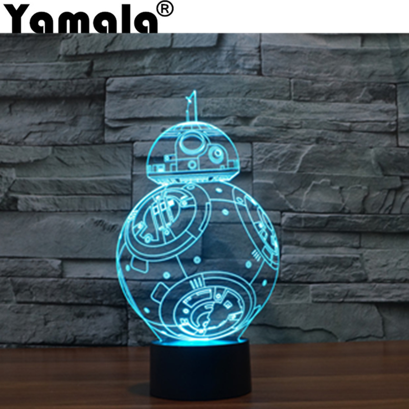 [Yamala] New style Stereobot Star Wars BB-8 robot 3D seven color lights touch switch Future science-fiction gift action figure <br>