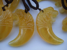 12pcs Faux Beeswax Resin Clear Yellow Tiger Pendant Necklace Surfer Boho
