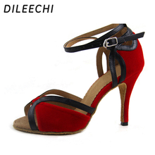 DILEECHI Spot wholesale Red velvet Women's High heels 9cm Latin dance shoes Salsa Square dance Shoes Party Wedding shoes(China)