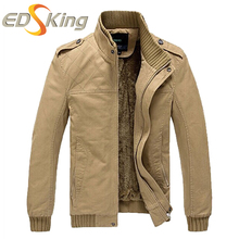 2017 New Men Casual Jacket Top Quality Plus Velvet Thickening Fluffy Army Green Khaki Jacket Man Coat Casacos Masculino