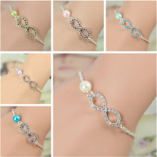 OBSEDE 2017 Fashion Jewelry Best Bridesmaid Gift Infinity Bracelet New Heart Rhinestone Imitation Pearl Silver Plated Bracelet