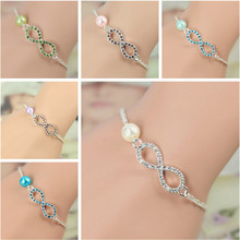 OBSEDE 2017 Fashion Jewelry Best Bridesmaid Gift Infinity Bracelet New Heart Rhinestone Imitation Pearl Silver Plated Bracelet(China)