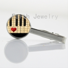 2016 newest fashion Music tie clips Black and White Piano Keyboard picture tie bar pins elegant charm Musical Note jewelry NS060