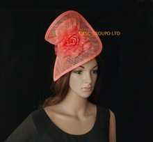 NEW Coral pink sinamay fascinator hat with silk flower  for Derby kentucky Wedding.