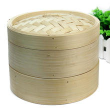 2 Tiers Bamboo Steamer Set Fish Dim Sum Rice Basket Lid Chinese Kitchen Cookware with Lid(China)