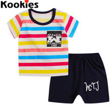2017 Summer Baby Boy Clothes Toddlers Clothing Infant Clothing Cheap Kids Clothing Sets Short Sleeves Striped Cartoon Suits