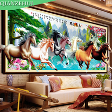 QIANZEHUI,Needlework,DIY Eight Horses Landscape Cross stitch,Sets For Embroidery kits Welcoming pine rising sun Cross-Stitch