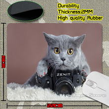 Retail Luxury Printing Gray Cat with a Zenit Camera Game Design Gaming PC Anti-slip Laptop Mouse Mat for Optical/Trackball Mouse