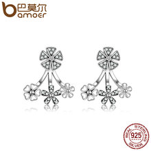 BAMOER 925 Sterling Silver Trendy Natural Flower Dazzling Daisy Earrings Jacket for Women Sterling Silver Jewelry Brincos SCE063(China)