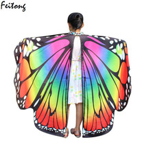Novelty Print Scarves Pashminas 2017 New Fashion Kid Butterfly Wings Shawl Scarves Nymph Pixie Poncho Costume Accessory For Girl(China)