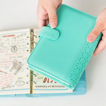 2018 Macaroon Personal Organizer Hollow Leather Business Office Spiral Ring Binder Agenda Notebook Cute Kawaii Planner A5 A6(China)
