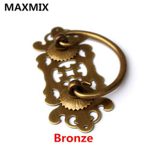 118mm 102mm  Chinese antique handles for furniture Desk Drawer Pure Copper  Classical Hollow Flower Handle  Bookcase Handle