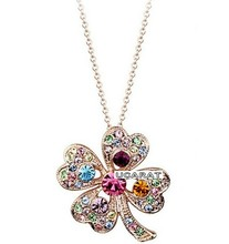 JS N218 Multicolor Clover Necklace Gold And Silver Color Charming And Fascinating Jewelry Nickel Free
