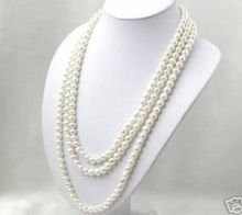 Hot sale new Style >>>>>SUPER LONG 120 INCH 7-8MM WHITE AKOYA CULTURED PEARL NECKLACE(China)