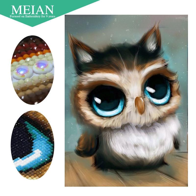 Meian особой формы Алмазная Вышивка <strong>бренды</strong> животного Сова полный DIY алмазов картина вышивки крестом 3D Алмазная мозаика из бисера фото Декор(China)