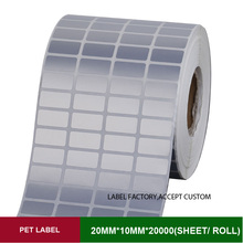 Quad row 20*10mm*10000sheets PET thermal transfer labels for the product mark of security, certification