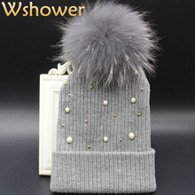 Black Gray Large 100% Real Dyeing Raccoon Fur Pom Pom Winter Knitted Hat For Women Crochet Warm Pearl Women Pompon Beanie Hats