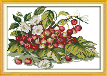 Joy sunday still life style Cherry fruit tray stamped cross stitch patterns free counted for home ornament