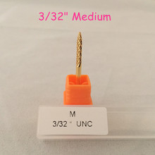 "MAOHANG 3/32"" gold under nail cleaner bit electric drill file carbide nail drill bit for cut and polish the bottom of the nail"