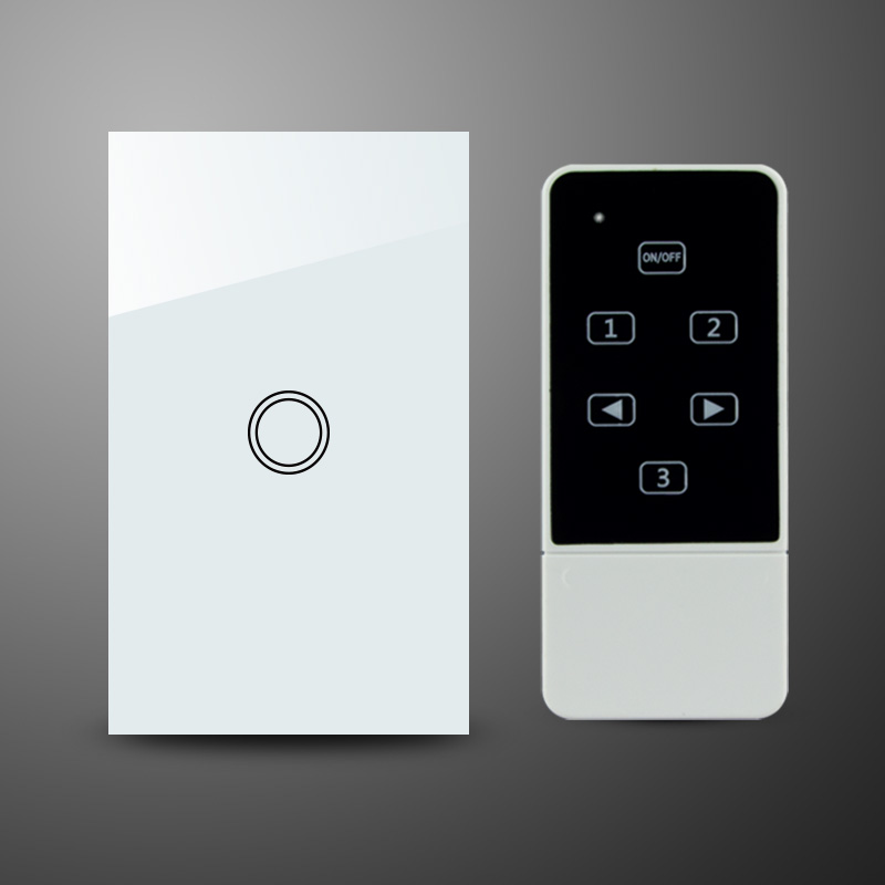 US AU Standard Wireless Remote Control Switch RF 433Mhz Crystal Tempered Glass Panel Touch Light Switch 1 Gang<br>
