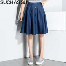SUCH AS SU Denim Skirt Women 2017 New Black Blue Button Knee-Length Elastic Casual High Waist Skirt M-XL Ladies Pleated Skirt(China)