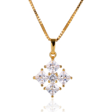Top Quality Square Zircon Pendant Necklace Gold color Box Chain Necklace Luxury Jewelry For Women 1011(China)