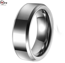 NFS Free Shipping Hot Sales 8MM Width Shiny Bevel Custom Ring Blank Ring New Men's Fashion Tungsten Wedding Ring(China)
